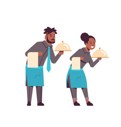 professional waiters couple holding dish african vector image
