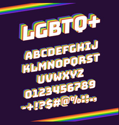 Rainbow lgbtq font pride 3d letters and numbers vector