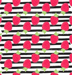 Raspberry hand drawn sketch striped Seamless vector image vector image