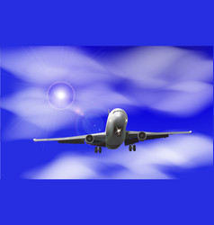 realistic airplane on a background of blue sky vector image