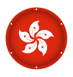 Round metallic flag of hong kong with screw holes vector