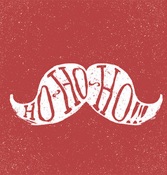Santa vintage moustache On textured grunge red vector