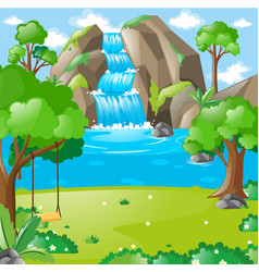 Scene with waterfall in woods vector