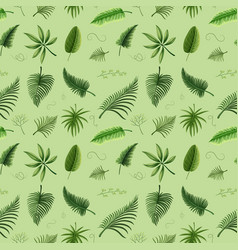 Seamless background design with green leaves vector