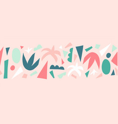 Seamless border abstract paper cut collage vector