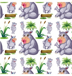Seamless hippos and plants vector
