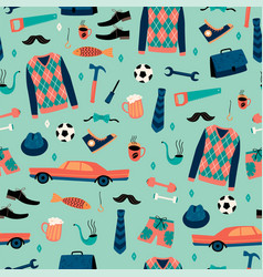 seamless pattern with mans things happy vector image