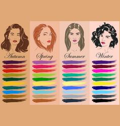 seasonal color analysis hand drawn girls vector image