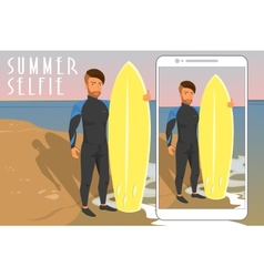 Selfie of hipster wearing diving suit with yellow vector image