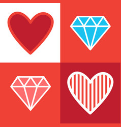 set of diamonds and heart shapes in retro style vector image