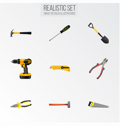 set of instruments realistic symbols with shovel vector image