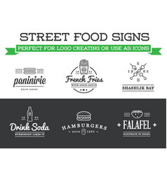 Set of street food fastfood signs with icons can vector