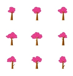 Set of tree decoration flat vector