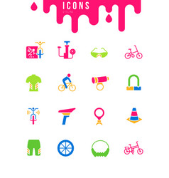 set simple icons cycling vector image