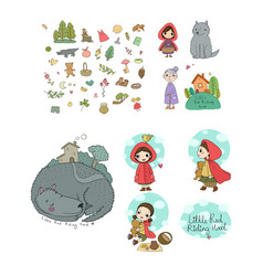 set with little red riding hood fairy tale little vector image