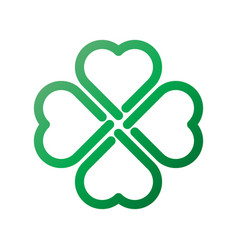 Shamrock - green gradient thick outline four leaf vector