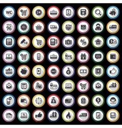 Shopping flat gray icons set on black background vector image
