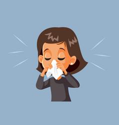 Sick girl blowing her nose having flu vector