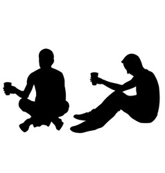 Silhouettes of men begging vector