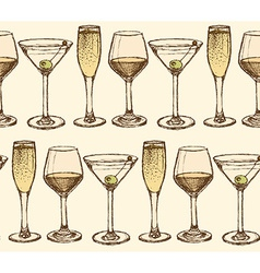Sketch martini champagne and wine glass in vintage vector
