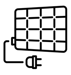 Solar panel plug icon outline style vector