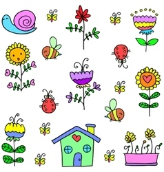 Spring flower set doodles vector