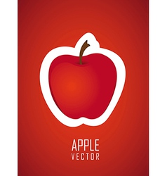 stickers apple red background vector image
