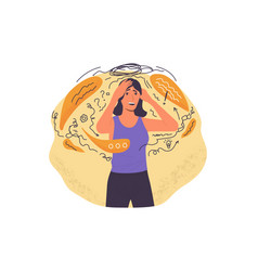 Stressed person cartoon girl with emotional vector