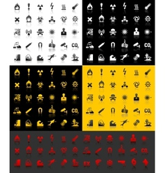 Symbols danger icons vector