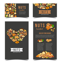 vertical posters for vegan nut nutrition vector image