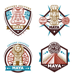 vintage colored maya civilization emblems set vector image