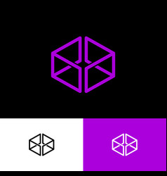 Violet box logo web online shop vector