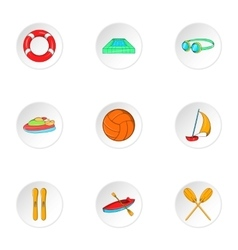 Water sport icons set cartoon style vector