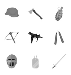 Weapon set icons in monochrome style Big vector