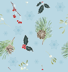 winter plants and snowflakes on blue background vector image