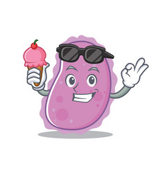With ice cream bacteria character cartoon style vector