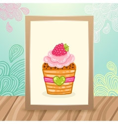 Wood frame on the desk with doodles and cupcake vector