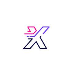 X letter dash lowercase tech digital fast quick vector