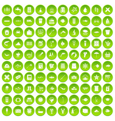 100 fish icons set green circle vector