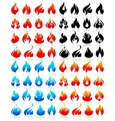 Fire flames big set icons vector image vector image