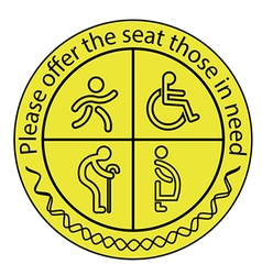Please offer the seat those in need vector image
