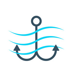 simple anchor icon with waves vector image vector image
