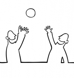 two people throwing a ball vector image