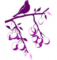 bird on a plum branch vector image vector image