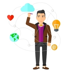 Businessman and cloud computing vector image vector image