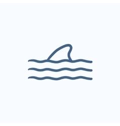 Dorsal shark fin above water sketch icon vector image
