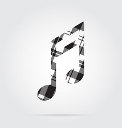 grayscale tartan isolated icon - musical note vector image vector image