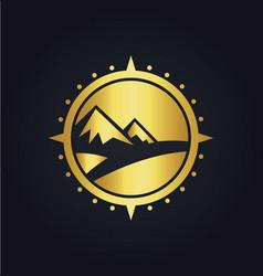 mountain adventure compass gold logo vector image