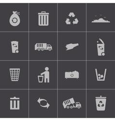 black garbage icons set vector image
