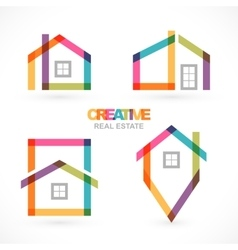 Creative house abstract real estate icons set vector